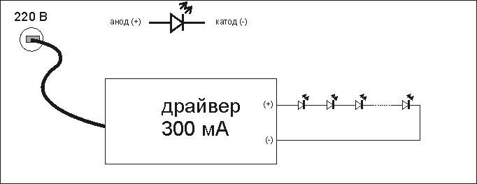 подключение светодиодов к драйверу 300 мА