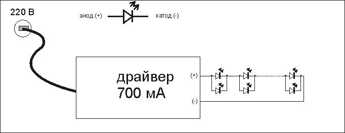 подключение светодиодов к драйверу 700 мА